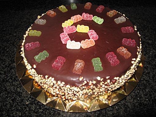 Pastel de chocolate y mermelada