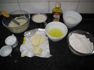Ingredientes para el bizcocho de chocolate blanco