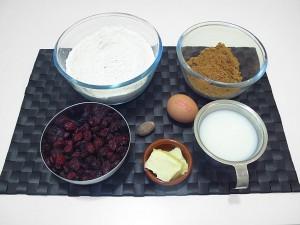 Ingredientes para las muffins de arándanos