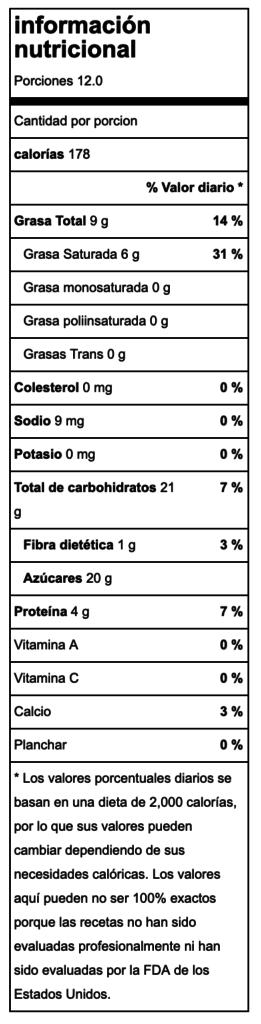 Valor nutricional Flan de coco tradicional