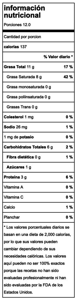 Valor nutricional Flan de coco saludable