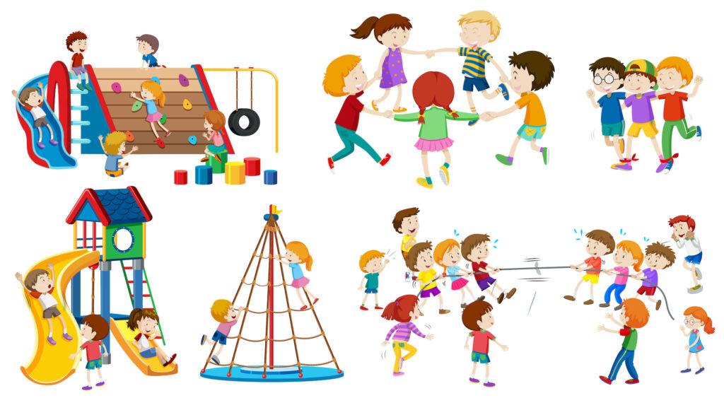 Ilustración con niños jugando en un parque. Designed by brgfx / Freepik