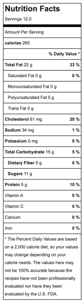 Tiramisú tradicional valores nutricionales